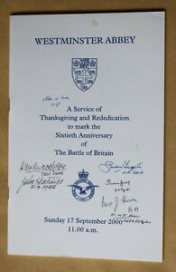 BATTLE OF BRITAIN 60TH ANNIV SERVICE WESTMINSTER ABBEY 2000 SIGNED 7 VETERANS