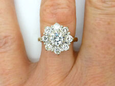 1.15 Carat Halo Diamond Flower Cluster Engagement Ring In 14K Yellow Gold