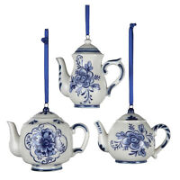 Set/3 Kurt Adler Delft Porcelain Blue Teapot Christmas Tree Ornaments Vntg Decor