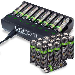 Rechargeable High Capacity AAA / AA Batteries and 8-Way Charging Dock - Venom