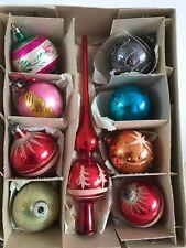 Vintage Mercury Glass Christmas Baubles Concave Dimple Inverted Tree Topper Spik