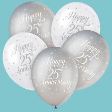 Plata Feliz 25 Aniversario Bodas Globos Látex Llenar con Helio o Aire
