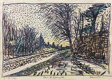 "KARL LARSEN 1897-1977 - ALLEE - EXPRESSIONIST ""DE FIRE"" 1969"