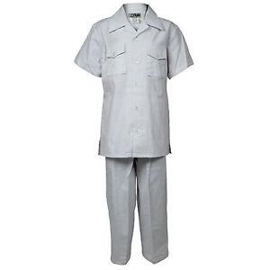Boys White Linen Set 2 Piece Two Pocket Shirt With Pant Sizes 4 to 18