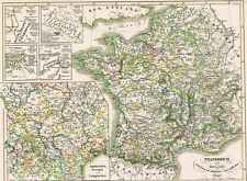 172 Jahre alte Landkarte FRANCE Bouvines, Crecy, Maupertuis et Azincourt 1846