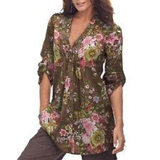 Plus Size Fashion Women's Vintage Floral V-neck Tunic Daily Tops T Shirt Blouse