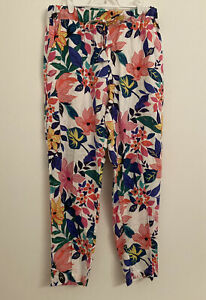 C&C California 100% Linen Long Pants Medium Floral Drawstring Drawstring