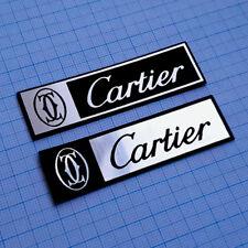 2 (TWO) x  CARTIER -  Logo Sticker - Metallic Aluminium 70mm / 20mm