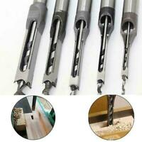 4pcs/set Hollow Square Hole Saw Mortise Chisel Auger Drill Tool Woodworking F8S4