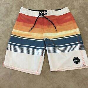 O'Neill Boys Striped Back Pocket Drawstring Swim Board Shorts Trunks Sz 10