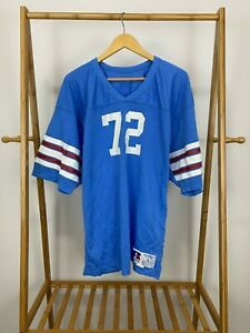 RARE VTG Brad Hopkins #72 Tennessee Oilers NFL Russell Athletic Size L USA