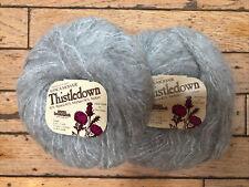 Lot of 2 balls Brunswick Yarns Thistledown yarn, platinum grey, alpaca/mohair
