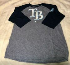 Tampa Bay Rays Men's Gray  3/4-Sleeve Shirt MLB Majestic Sz XL