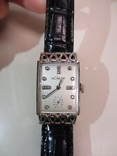 VINTAGE LECOULTRE 18K WHITE GOLD *THE LOWELL* DIAMOND  DIAL WATCH