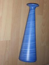 hohe Blumenvase für 1 Blume - Keranik hellblau gedreht- rund - 30x9,5cm NEU
