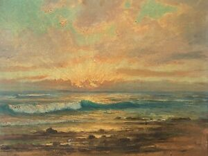 🔥 Antique California Plein Air Impressionist Seascape Oil Painting - Seely 1926