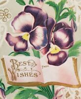C1910 Beautiful Gold Embossed Greeting Postcard Best Wishes Pansy Flowers