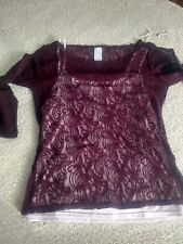 Famous Catalog Brand New Womens Purple Lace Boatneck 2  Piece Pullover Top Shirt