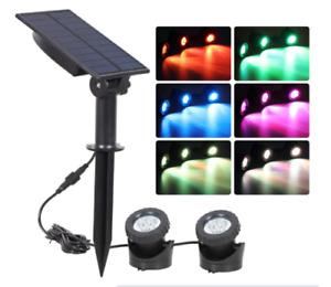 2PCS Solar Pond Light RGB Submersible Lamp Underwater Light Outdoor Spotlight UK