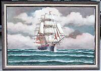 RENATO LONGANESI Vintage Oil on Canvas 24x36 Original Painting Clipper Tall Ship