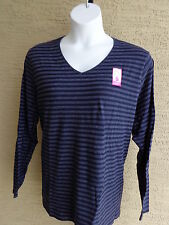 NWT JUST MY SIZE ESSENTIALS L/S JERSEY KNIT V NECK STRIPED TEE SHIRT NAVY 5X