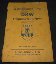 Betriebsanleitung DKW Frontantriebwagen 600 + 700 ccm Auto Union Stand 1938