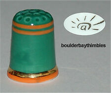 Fèves Porcelain  HAND PAINTED Thimble GREEN with ORANGE STRIPES NEW FRANCE