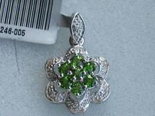 Diopside & Diamond 9k White Gold Pendant, no chain