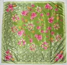 """Fashion BWIN Roses FLORAL Green Pink Orange LACE Hand Rolled Silky 34"""" Scarf"""