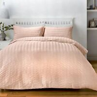 Serene SEERSUCKER Blush Pink - Easy Care Polycotton Duvet Cover Set