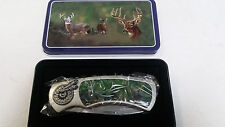 DEER BUCK AND DOE POCKET KNIFE WITH TIN BOX NEW