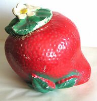 Vintage American Bisque Strawberry Cookie Jar SEARS USA POTTERY FREE SH