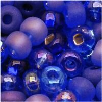 Beads Czech Seed Beads 6/0 Mix Blue Moon Cobalt & Sapphire (1 Ounce)