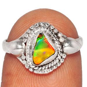 OOAK Black Welo Opal Orange Blue Sapphire Accents Ethiopian Opal Sterling Silver Ring and Yellow Fire Green Sz 6 14 Tan Base