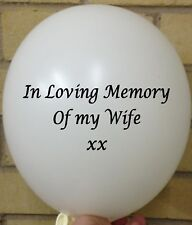 3 In Loving Memory Wife, White Rememberance, Funeral, Wake, Memorial Balloon