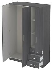 Wardrobe 3 Doors 3 Drawer Dark Grey Mordern