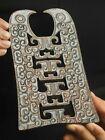 Old natural hetian jade hand-carved statue dragon bi plate pendant 6.3 inch