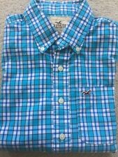 Men's Hollister Small Blue & White Check Cotton Shirt Long Sleeve