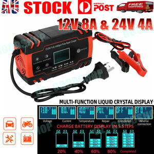 12V-24V Car Battery Charger LCD Automatic Smart Boat Caravan Motorcycle Truck AU