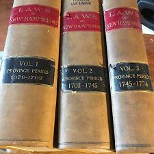 3 Vol Set 1679-1702 Laws of New Hampshire 1702-1745  1745-1774 Antique Law Books