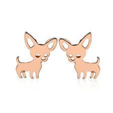 Rose Gold Cute Chihuahua Sweet Dog Earrings Studs