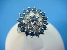 !ESTATE 1 CT T.W. SAPPHIRES AND DIAMONDS VINTAGE COCKTAIL RING 3.9 GRAMS SIZE 6