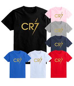 CR7 T Shirt Boys Ronaldo Football Gift Kids Gold Print Cristiano Top 5-13 Years