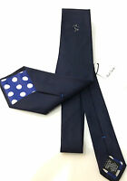 Paul Smith Football Tie Navy Blue Tie 100% SILK 9cm Classic Tie Made in Italy