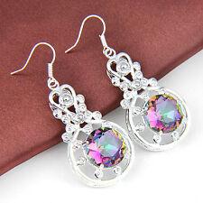 Attractive Handmade Woman Shiny Rainbow Mystic Topaz Gems Silver Dangle Earrings