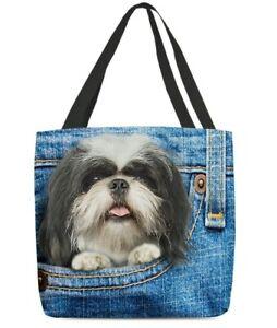All-Over Tote Bag Shih Tzu In Pocket