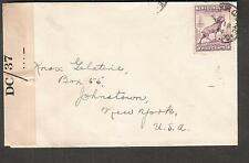 Canada Newfoundland May 1944 Wwii Pc90 Dc/37 censor cover Harbour Grace to Ny