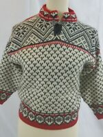 Dale of Norway Boys Sweater Size 8 1/4 zip red blue white merino wool