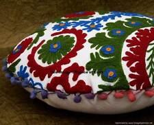 Indian Handmade Round Suzani Embroidered Cushion Cover Art Home Sofa Decorative