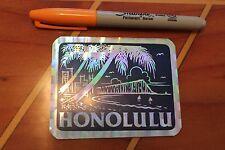 HONOLULU (BLUE) - Hawaii 80's Surfing ALOHA PARADISE Tiki 3x4in. Prism STICKER